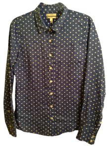 J.Crew 100% Linen Button Down Shirt Blue with White polka dots