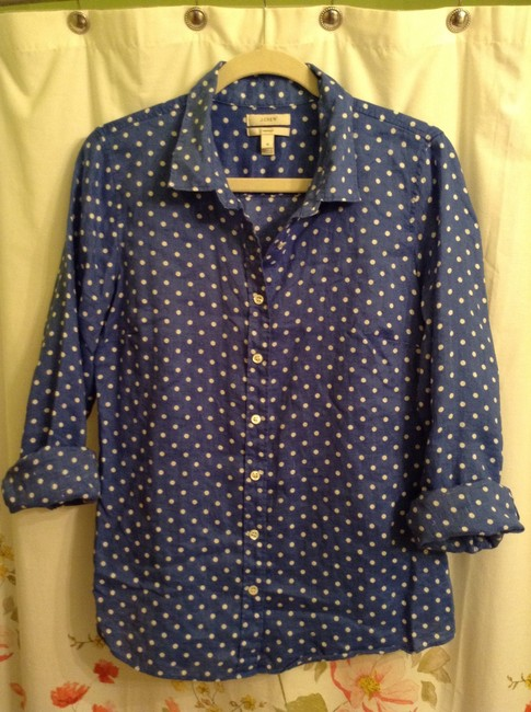 J.Crew Linen Button Down Shirt Blue with White polka dots
