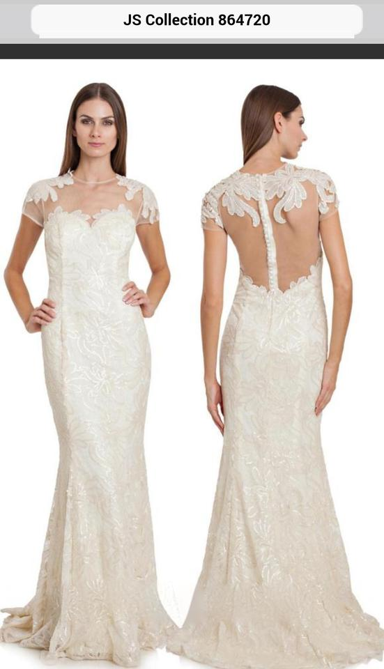 Js Collections Ivory Lace And Sequins Polyester 864720 Feminine Wedding Dress Size 8