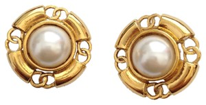 Chanel Chanel #2294 Multiple cutout CC On Edge White pearl Stone On Gold Disc Earrings Clip On Clip-On Clipon