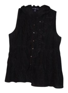Gap Ruffle Sleeveless Cinched Button Down Shirt Black