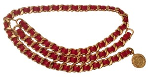 Chanel CHANEL RARE VINTAGE RED LEATHER GOLD PLATED CHAIN LINK BELT