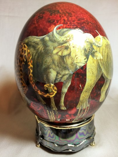 Other Decoupage Ostrich Egg on Mount; South Africa -- The Big Five (8H