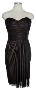 Badgley Mischka Knit Ruched Strapless Dress