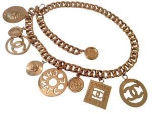 Chanel FAMOUS CHANEL GOLD PLATED JUMBO CHARMS NECKLACE / BELT