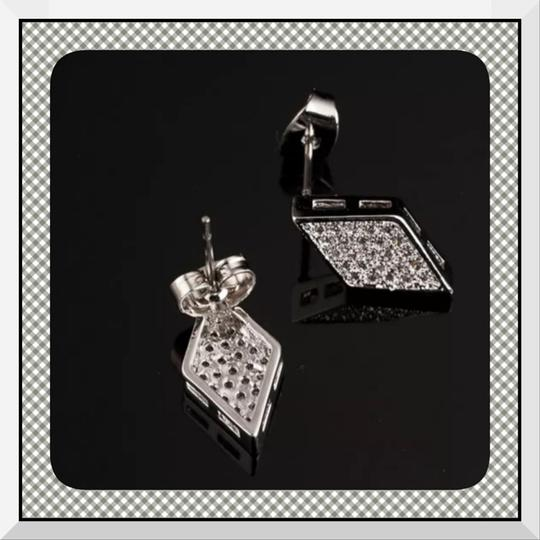 Other Brand New Micro Pave Silver CZ Rhombus Shape Earrings