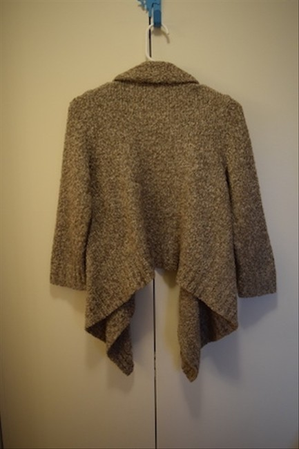 Frenchi Cozy Oatmeal Crop Cascading 3/4 Sleeves Cardigan