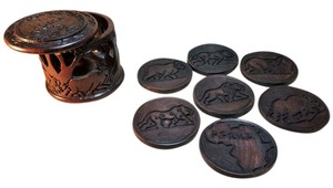 Wood Carved Coaster Set; 8-Pc.; Malawi, Africa [ SisterSoul Closet ]