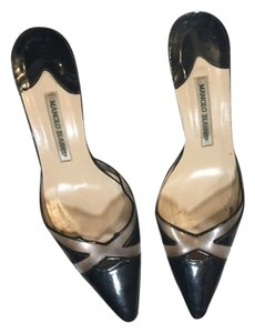 Manolo Blahnik black/clear Mules