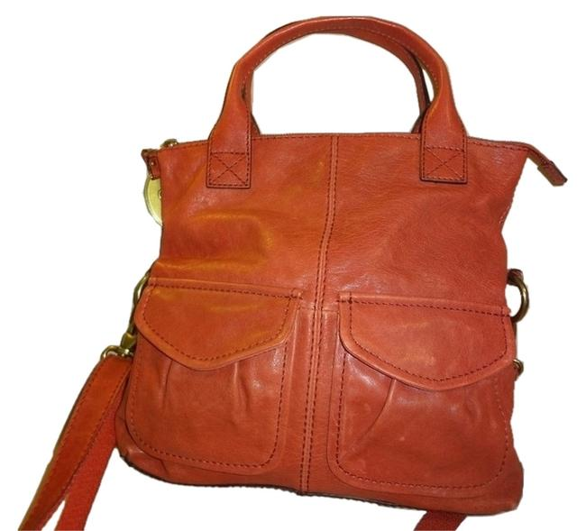 Item - Fold Over Tote and X-body Strap Orange Leather Cross Body Bag