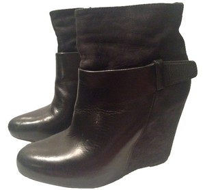 Vince Leather Wedge Black Boots