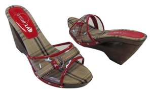 Soho Lab New Excellent Condition Size 8 red, neutral ,black Wedges