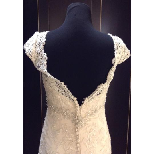 Allure Bridals Ivory/Light Gold Lace C207 Formal Wedding Dress Size 8 (M)