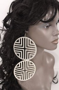Other Women Earring Silver Double Round Hook Metal Cut Out Fashion Geometric Cross