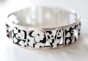 Brighton Wtag Brighton Love Block Black White Enameled Bangle Bracelet