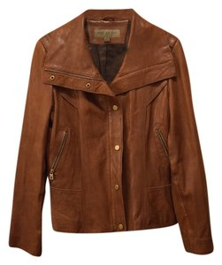 Marc New York Soft Leather Collar Zipper Details Large Brown Leather Jacket