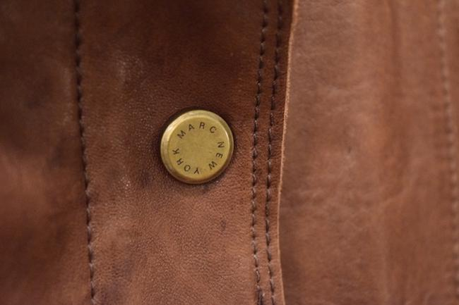 Marc New York Soft Collar Zipper Details Large Brown Leather Jacket