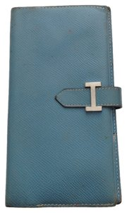 Herms Hermes Blue Jean Leather bi fold H wallet bifold zippy zip pocket