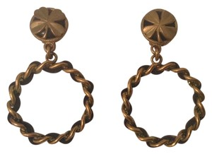 Chanel CHANEL RARE VINTAGE '94P BLACK LEATHER GOLD PLATED HOOP CLOVER EARRINGS