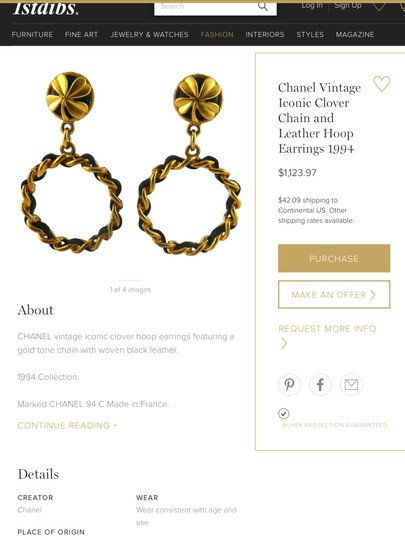 Chanel CHANEL RARE '94P BLACK LEATHER GOLD PLATED HOOP CLOVER EARRINGS