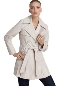 Via Spiga Pleated Belted Double Breasted Water Resistant Rain Trench Coat