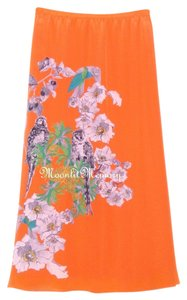 Soft Surroundings Silk Birds Maxi Skirt Orange