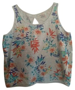 DKNY Top Gray with tropical flowers
