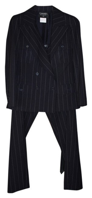 Item - Navy with White Classic Pin Stripe Pant Suit Size 10 (M)