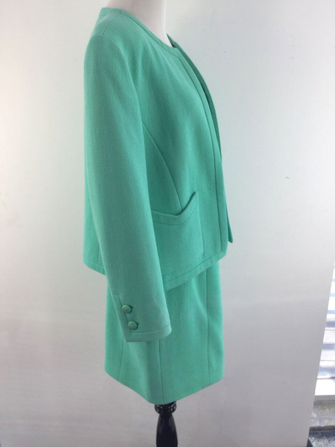 Chanel Vintage Seafoam Boucle Skirt Suit