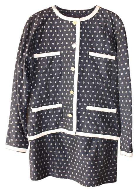 Item - Navy & White Spring with Geometeric Detail Skirt Suit Size 10 (M)