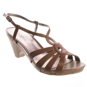 White Mountain Minny Womens Rust Leather Heels Sandals Brown Pumps