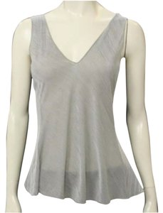 Armani Collezioni Camisole Silver V-neck Sleeveless Textured Shimmer Business Work Business Wear Sexy Silver Top Metallic Steel Grey