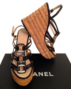 Chanel Cc Patent Leather Black Silver Tan Wedges