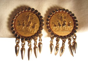 Nettie Rosenstein Vintage Nettie Rosenstein Gold GP Winged Victory Art Relief Clip Earrings