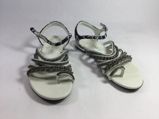 Chanel 15s Black White Leather Sandals