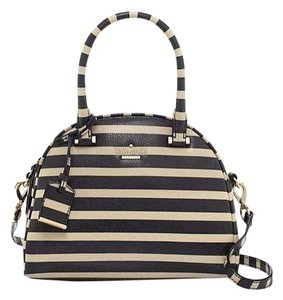 Kate Spade Stripe Crossbag Black/white Satchel in Offshore/pebble, ivory/light beige