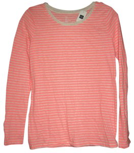 Gap Crew Striped T Shirt Coral Pink