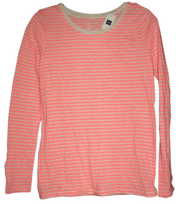Gap Crew Striped Sleeve Pink Tee T Shirt Coral Pink