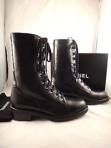 Chanel Leather Flannel Black Boots