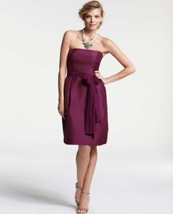 Ann Taylor Grey Silk Dupioni Strapless Traditional Bridesmaid/Mob Dress Size 6 (S)