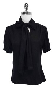 Carolina Herrera Silk Signature Tie Neck Top