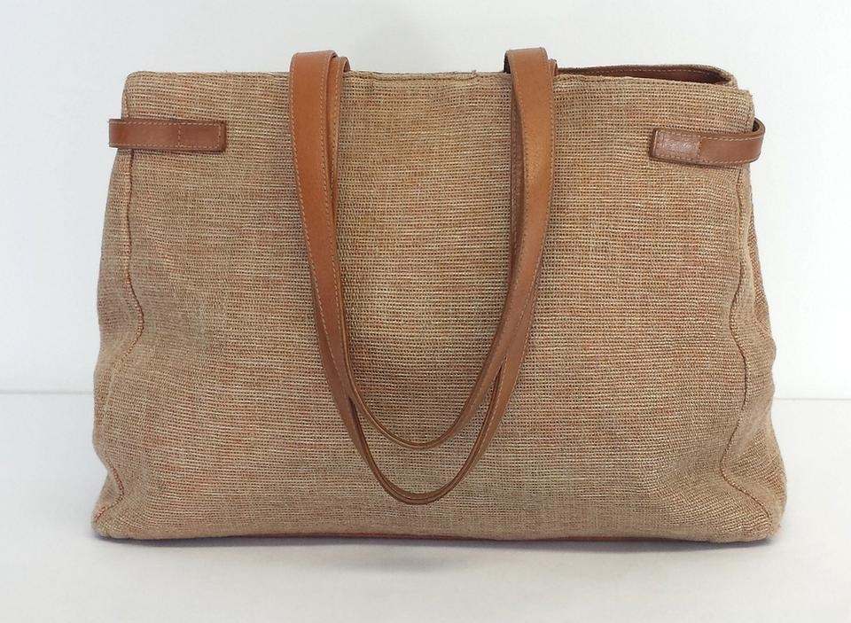 Furla Brown Canvas & Leather Tote Bag | Totes on Sale