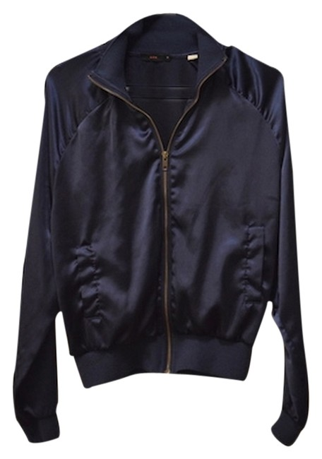 Lux Jazz Hip Shiny Polyester Chilly Evenings Summer Fall Evening Front Zip Navy Jacket