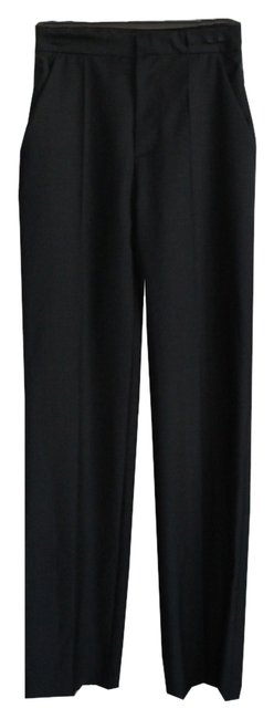 Balenciaga Trousers Wool Chic Wide Leg Pants Black