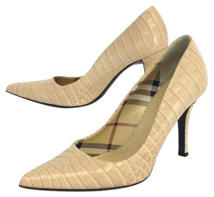 Burberry Croc Embossed Leather Pumps