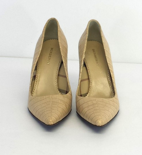 Burberry Croc Embossed Leather Pointed Toe Pumps