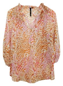 Bellatrix Sheer Polyester Longsleeve Flowy Top Multi