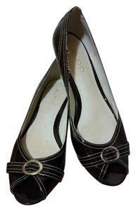 ALDO Patent Peep Toe Flat Brown Patent Wedges