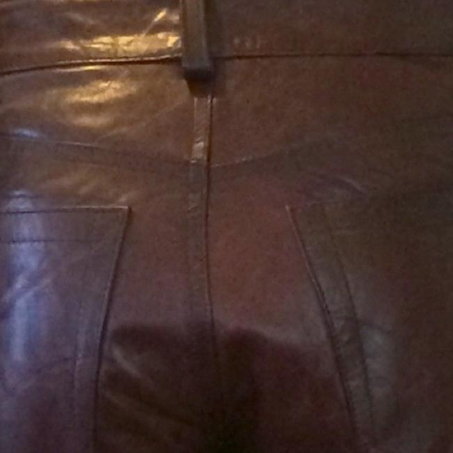 Item - Brown Coated Leather 4 Boot Cut Jeans Size 27 (4, S)