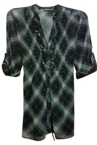 Apt. 9 Sheer Button Down Shirt Black Plaid